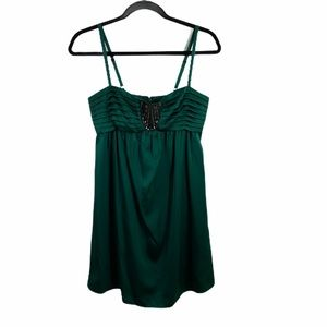 bcbg green beaded front adjustable strap dress